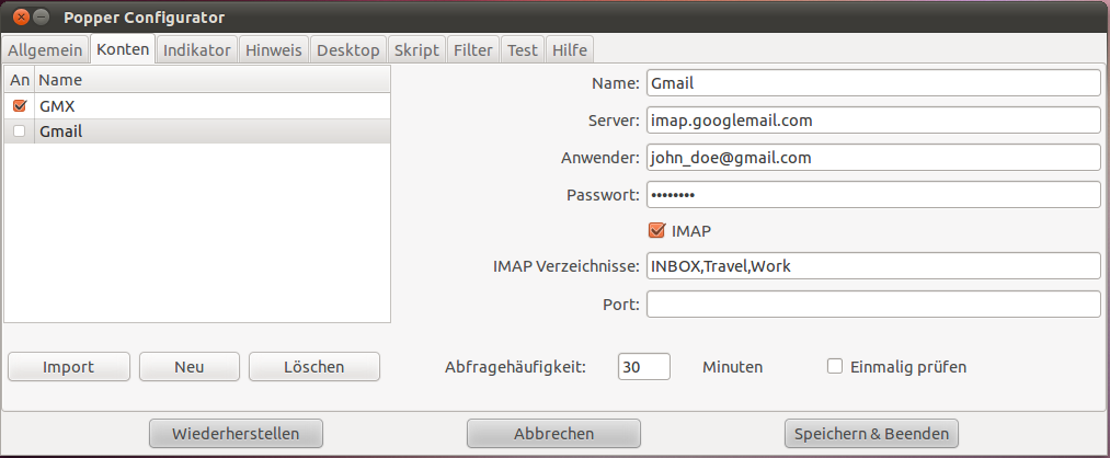 Popper Email Config